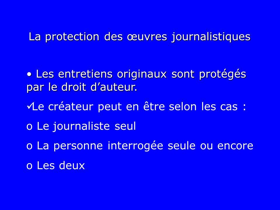 La protection des œuvres journalistiques Les entretiens originaux sont protégés par le droit dauteur. Les entretiens originaux sont protégés par le dr