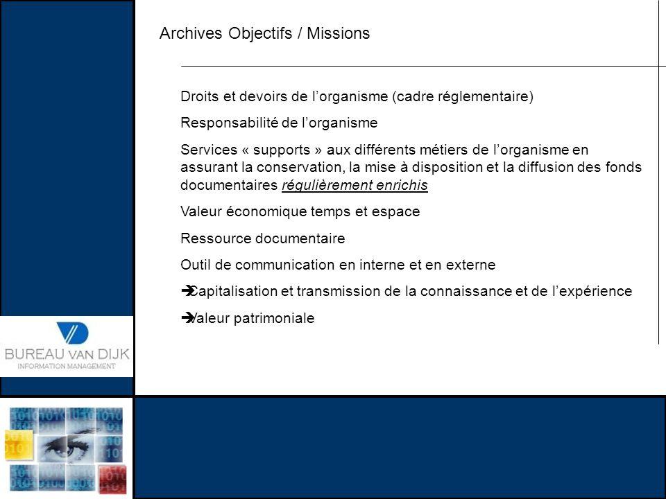 Archives Objectifs / Missions Droits et devoirs de lorganisme (cadre réglementaire) Responsabilité de lorganisme Services « supports » aux différents