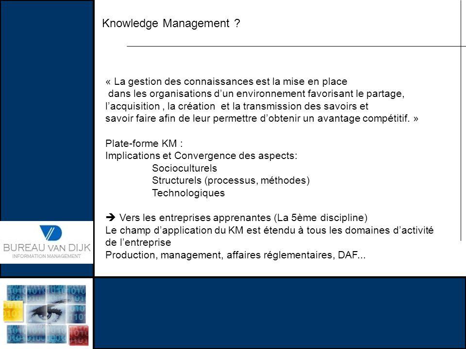 Knowledge Management ? « La gestion des connaissances est la mise en place dans les organisations dun environnement favorisant le partage, lacquisitio