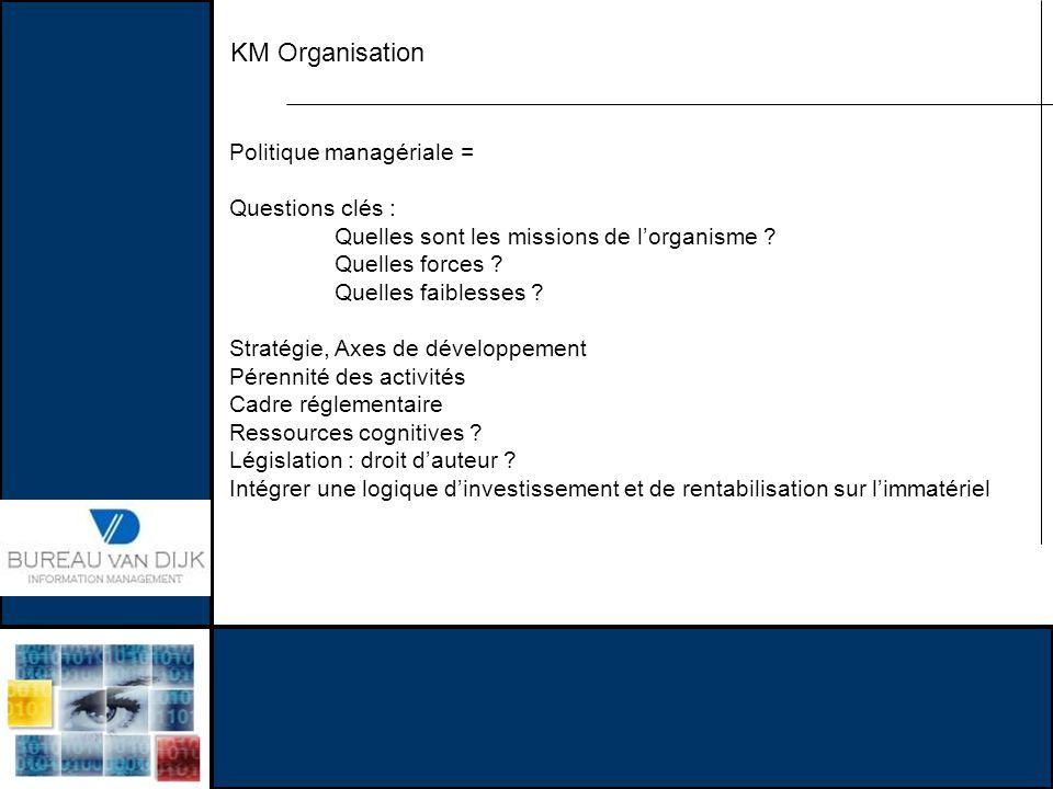 KM Organisation Politique managériale = Questions clés : Quelles sont les missions de lorganisme ? Quelles forces ? Quelles faiblesses ? Stratégie, Ax