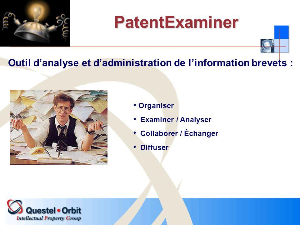 PatentExaminer Outil danalyse et dadministration de linformation brevets : Organiser Examiner / Analyser Collaborer / Échanger Diffuser
