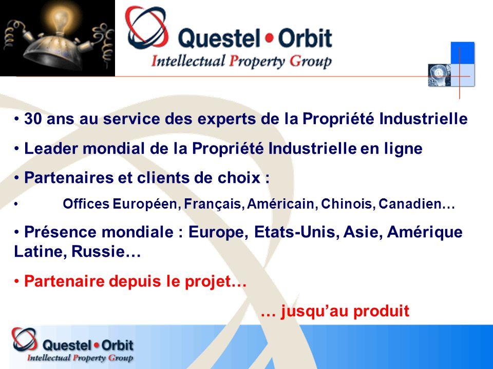 30 ans au service des experts de la Propriété Industrielle Leader mondial de la Propriété Industrielle en ligne Partenaires et clients de choix : Offi
