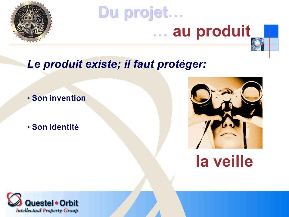 Le produit existe; il faut protéger: Son invention Son identité la veille Du projet Du projet… … au produit