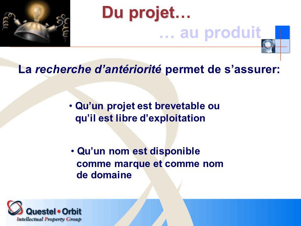 La recherche dantériorité permet de sassurer: Du projet Du projet… … au produit Quun projet est brevetable ou quil est libre dexploitation Quun nom es