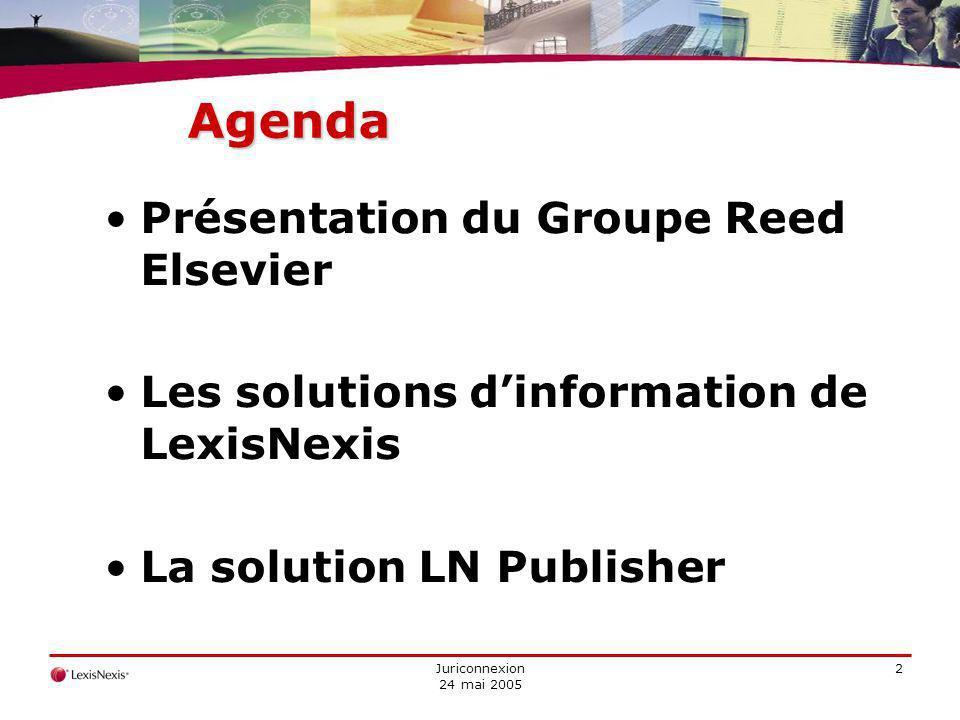 Juriconnexion 24 mai 2005 2 Agenda Présentation du Groupe Reed Elsevier Les solutions dinformation de LexisNexis La solution LN Publisher