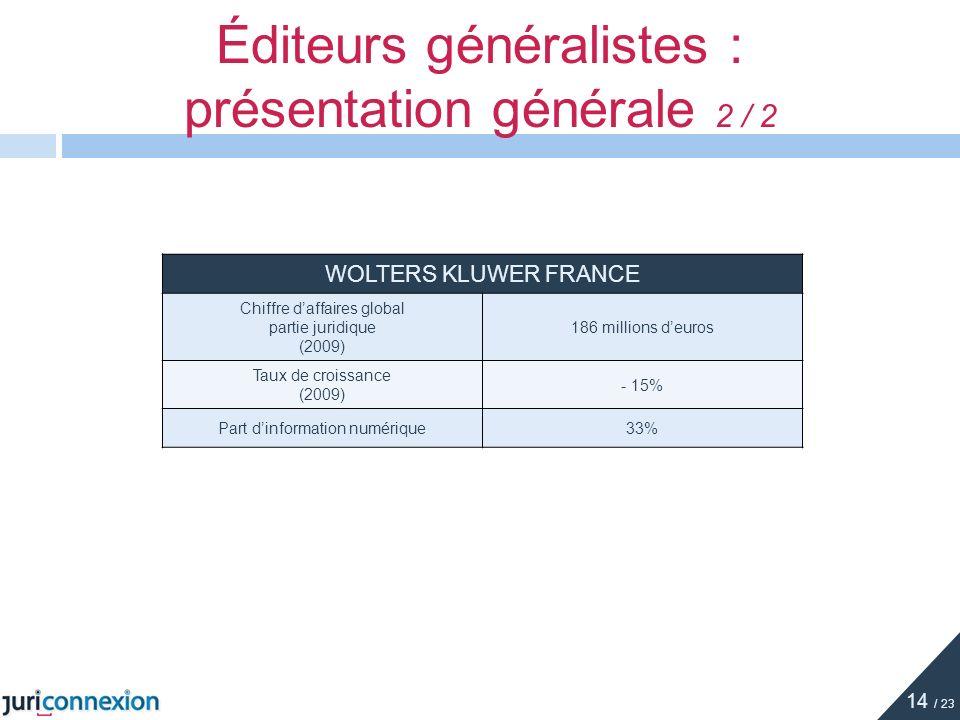 Éditeurs généralistes : présentation générale 2 / 2 WOLTERS KLUWER FRANCE Chiffre daffaires global partie juridique (2009) 186 millions deuros Taux de