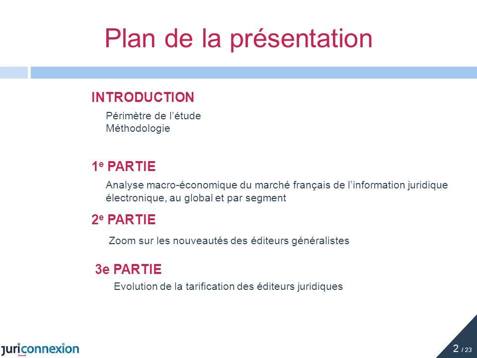 Éditeurs généralistes : présentation générale 1 / 2 GROUPE EDITIONS LEFEBVRE SARRUT (ELS) Chiffre daffaires Global France (2009) 219,5 millions Taux de croissance (2009) + 0,9% Part dinformation numérique en 2009 40% (en moyenne sur les 3 éditeurs) LEXISNEXIS FRANCE Chiffre daffaires Global France (2009) 135,2 millions Taux de croissance (2009) - 3,8% Part dinformation numérique en 2010 NC 13 / 23