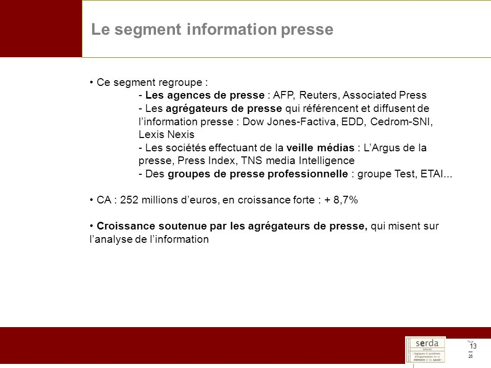 Page 26 13 Le segment information presse Ce segment regroupe : - Les agences de presse : AFP, Reuters, Associated Press - Les agrégateurs de presse qui référencent et diffusent de linformation presse : Dow Jones-Factiva, EDD, Cedrom-SNI, Lexis Nexis - Les sociétés effectuant de la veille médias : LArgus de la presse, Press Index, TNS media Intelligence - Des groupes de presse professionnelle : groupe Test, ETAI...