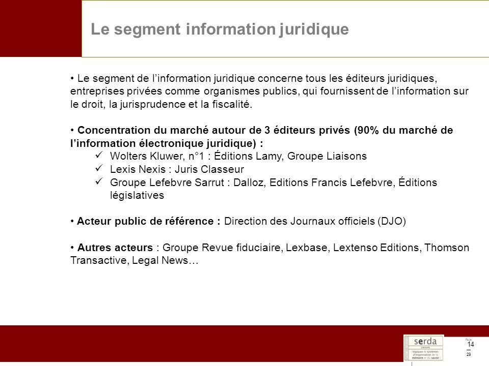 Page 29 14 Le segment information juridique Le segment de linformation juridique concerne tous les éditeurs juridiques, entreprises privées comme organismes publics, qui fournissent de linformation sur le droit, la jurisprudence et la fiscalité.