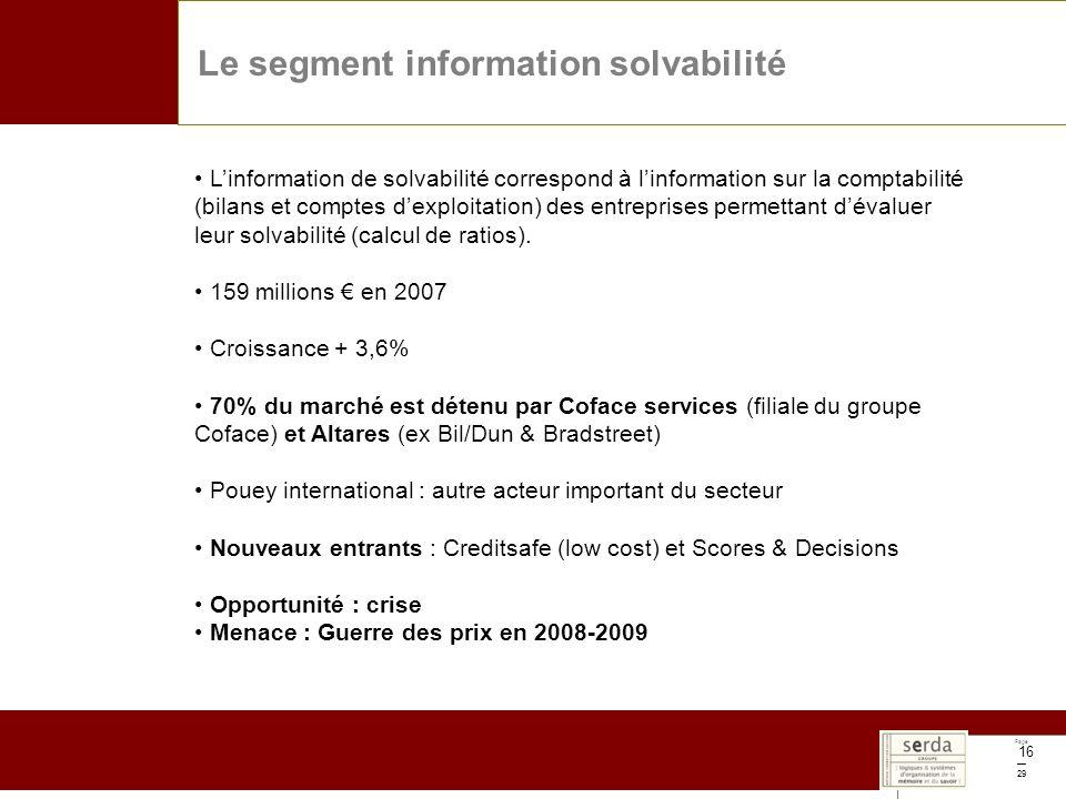 Page 29 16 Le segment information solvabilité Linformation de solvabilité correspond à linformation sur la comptabilité (bilans et comptes dexploitation) des entreprises permettant dévaluer leur solvabilité (calcul de ratios).