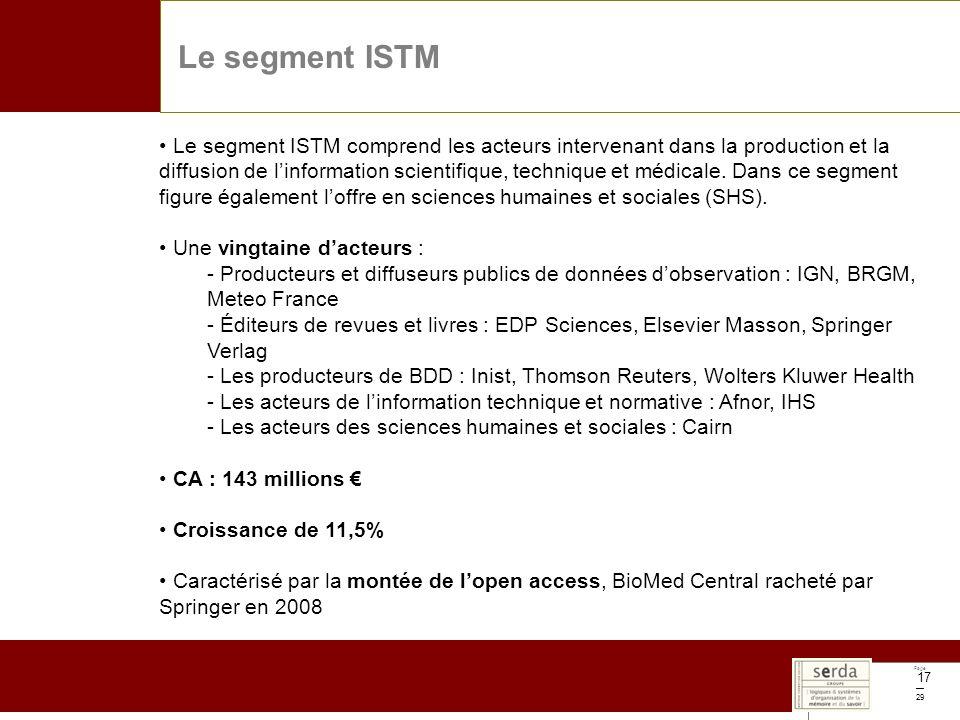 Page 29 17 Le segment ISTM Le segment ISTM comprend les acteurs intervenant dans la production et la diffusion de linformation scientifique, technique