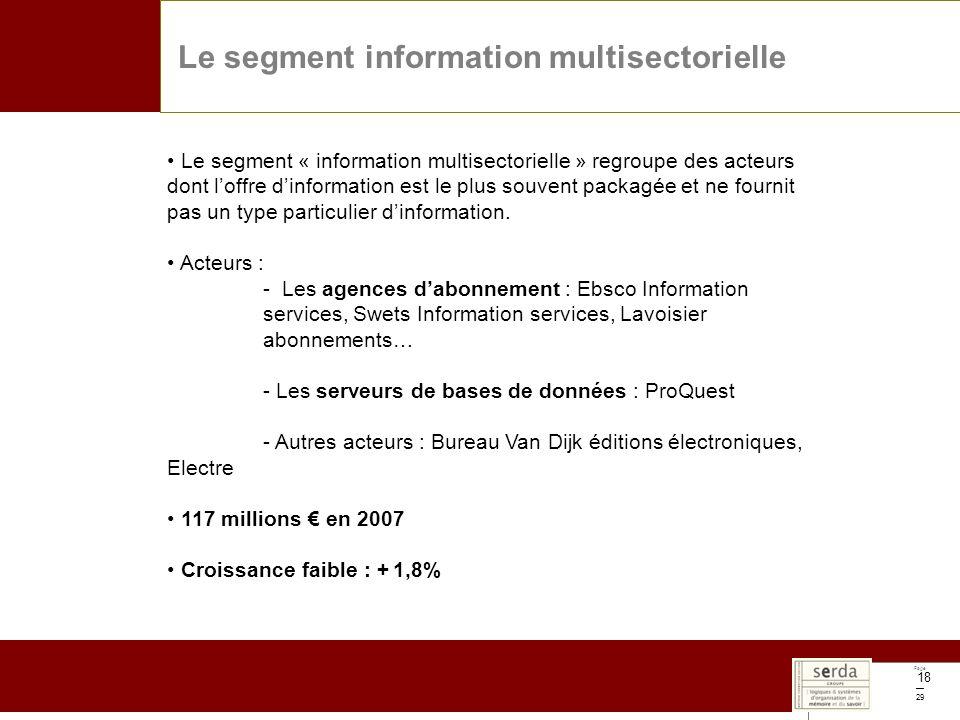 Page 29 18 Le segment information multisectorielle Le segment « information multisectorielle » regroupe des acteurs dont loffre dinformation est le plus souvent packagée et ne fournit pas un type particulier dinformation.
