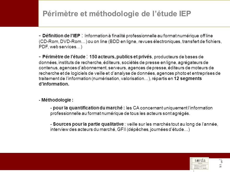Page 26 6 Périmètre et méthodologie de létude IEP - Définition de lIEP : Information à finalité professionnelle au format numérique off line (CD-Rom,