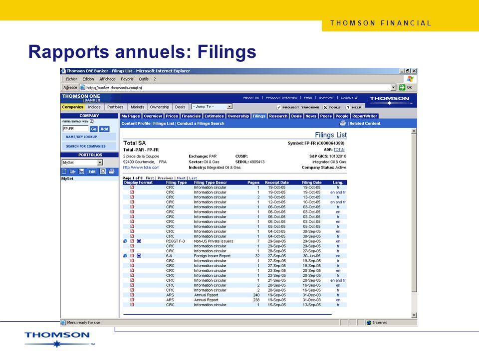 T H O M S O N F I N A N C I A L Rapports annuels: Filings