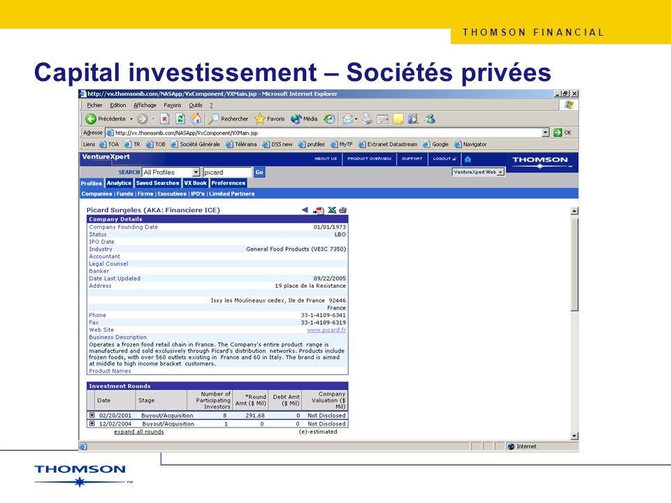 T H O M S O N F I N A N C I A L Capital investissement – Sociétés privées