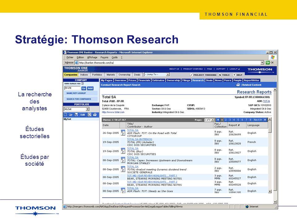 T H O M S O N F I N A N C I A L Stratégie: Thomson Research La recherche des analystes Études sectorielles Études par société