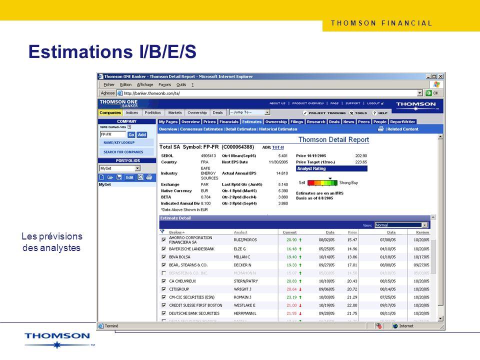 T H O M S O N F I N A N C I A L Estimations I/B/E/S Les prévisions des analystes