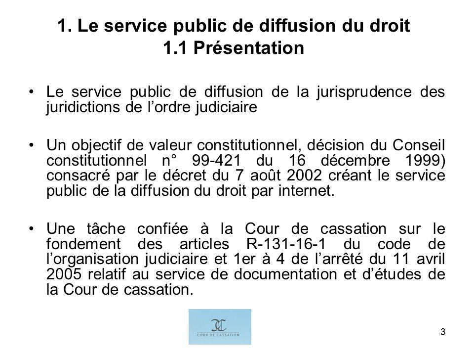 I.G.3 1. Le service public de diffusion du droit 1.1 Présentation Le service public de diffusion de la jurisprudence des juridictions de lordre judici