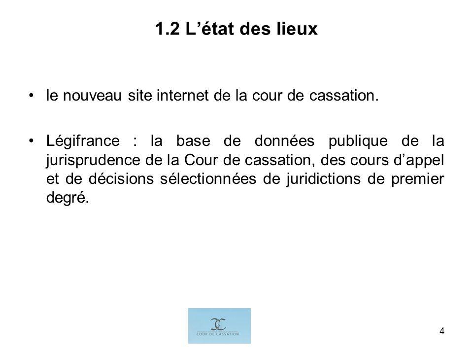 I.G.4 1.2 Létat des lieux le nouveau site internet de la cour de cassation. Légifrance : la base de données publique de la jurisprudence de la Cour de