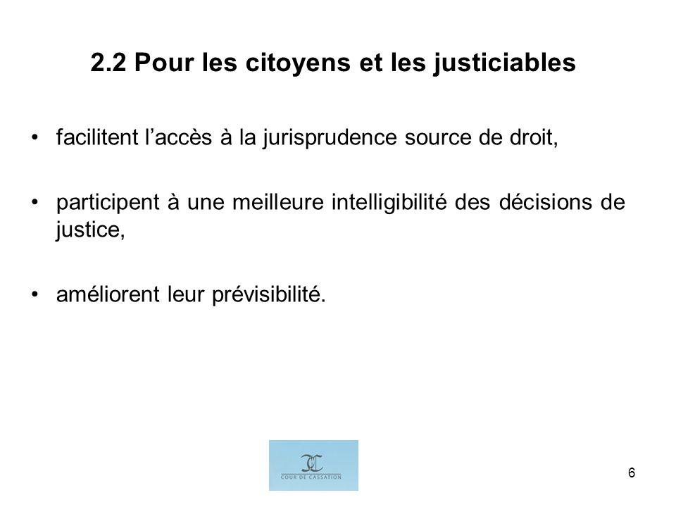 I.G.6 2.2 Pour les citoyens et les justiciables facilitent laccès à la jurisprudence source de droit, participent à une meilleure intelligibilité des décisions de justice, améliorent leur prévisibilité.