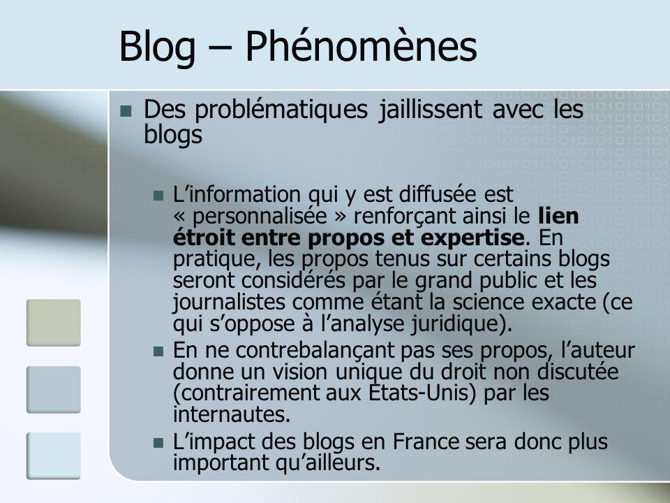 Blog – Phénomènes Des problématiques jaillissent avec les blogs Linformation qui y est diffusée est « personnalisée » renforçant ainsi le lien étroit entre propos et expertise.