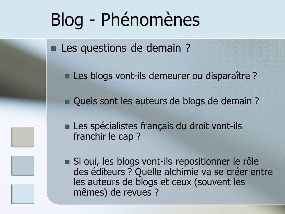 Blog - Phénomènes Les questions de demain . Les blogs vont-ils demeurer ou disparaître .