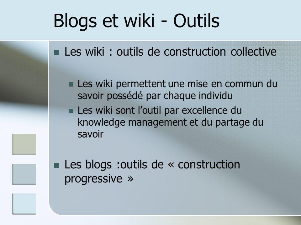Blogs et wiki - Outils Les wiki : outils de construction collective Les wiki permettent une mise en commun du savoir possédé par chaque individu Les wiki sont loutil par excellence du knowledge management et du partage du savoir Les blogs :outils de « construction progressive »