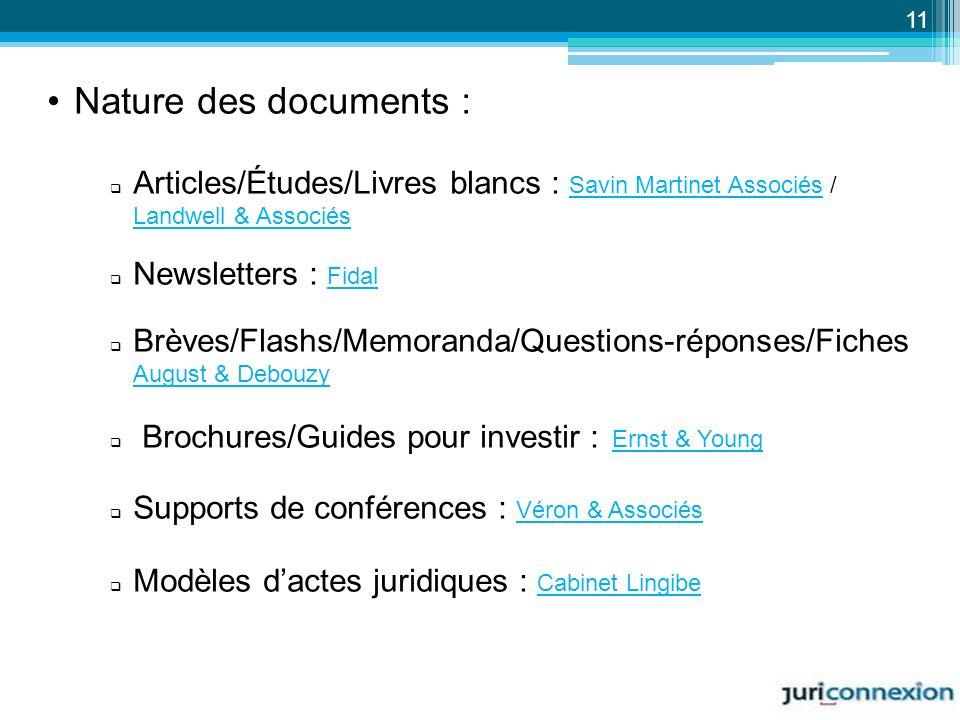 Nature des documents : Articles/Études/Livres blancs : Savin Martinet Associés / Landwell & Associés Savin Martinet Associés Landwell & Associés Newsl
