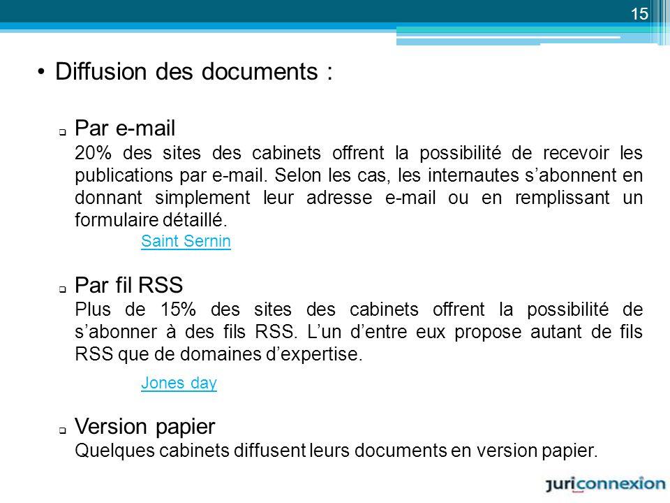 Diffusion des documents : Par e-mail 20% des sites des cabinets offrent la possibilité de recevoir les publications par e-mail. Selon les cas, les int