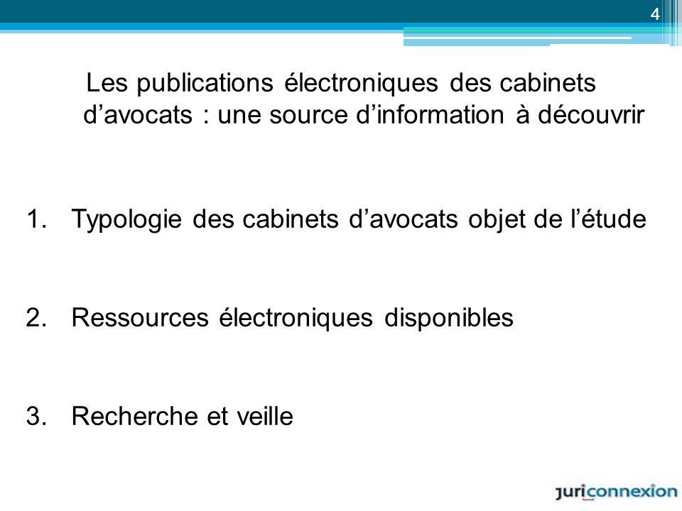 Les publications électroniques des cabinets davocats : une source dinformation à découvrir 1.Typologie des cabinets davocats objet de létude 2.Ressour