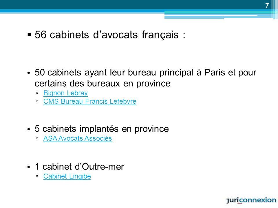 56 cabinets davocats français : 50 cabinets ayant leur bureau principal à Paris et pour certains des bureaux en province Bignon Lebray CMS Bureau Fran