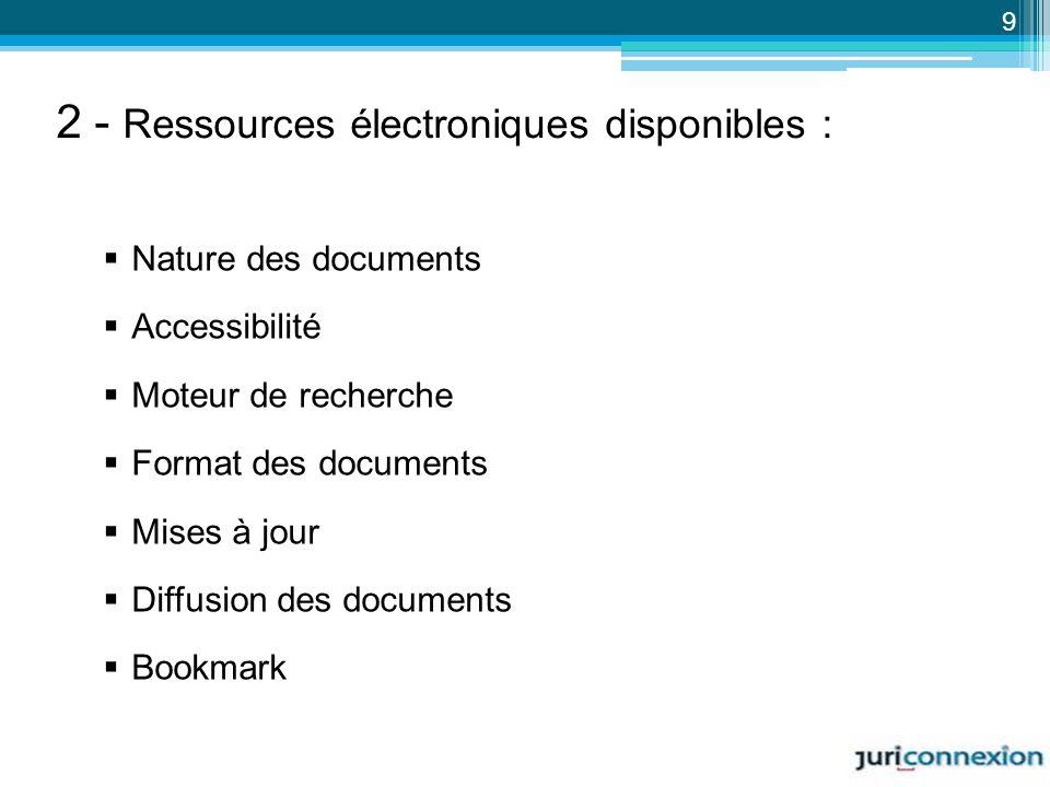 Nature des documents Accessibilité Moteur de recherche Format des documents Mises à jour Diffusion des documents Bookmark 9 2 - Ressources électroniqu