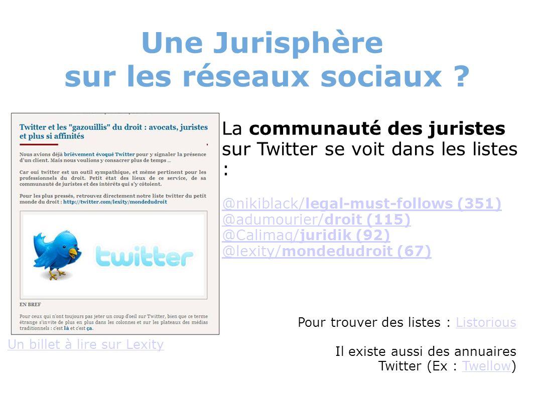 Une Jurisphère sur les réseaux sociaux ? Un billet à lire sur Lexity La communauté des juristes sur Twitter se voit dans les listes : @nikiblack/legal