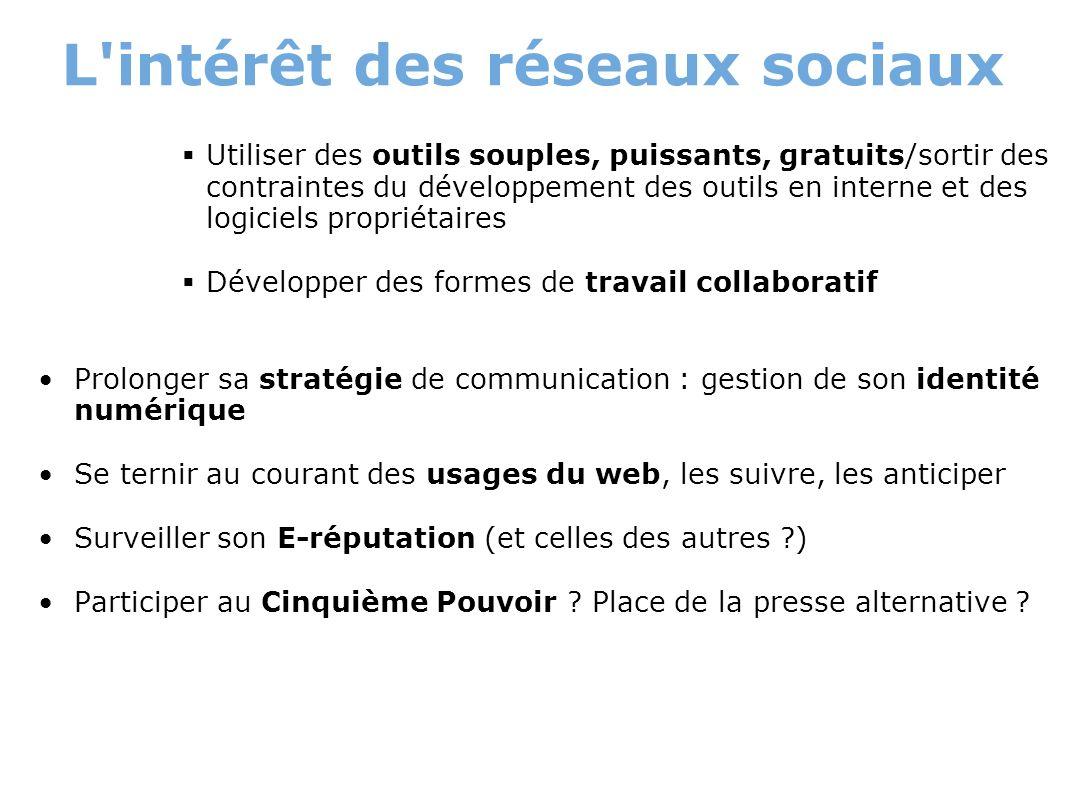 L'intérêt des réseaux sociaux Utiliser des outils souples, puissants, gratuits/sortir des contraintes du développement des outils en interne et des lo