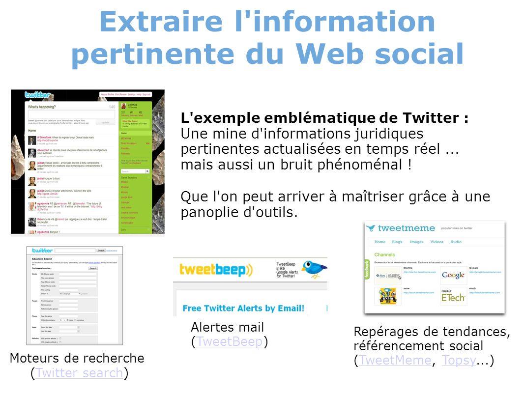 Extraire l'information pertinente du Web social L'exemple emblématique de Twitter : Une mine d'informations juridiques pertinentes actualisées en temp