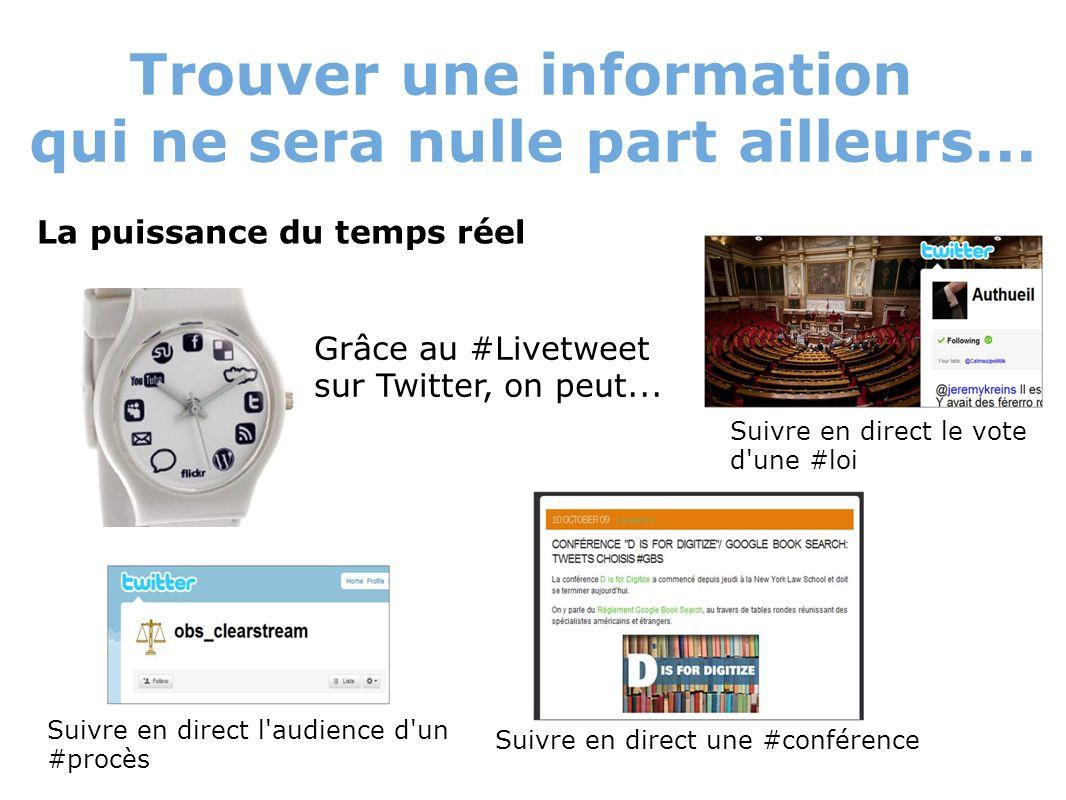 Trouver une information qui ne sera nulle part ailleurs... La puissance du temps réel Grâce au #Livetweet sur Twitter, on peut... Suivre en direct l'a