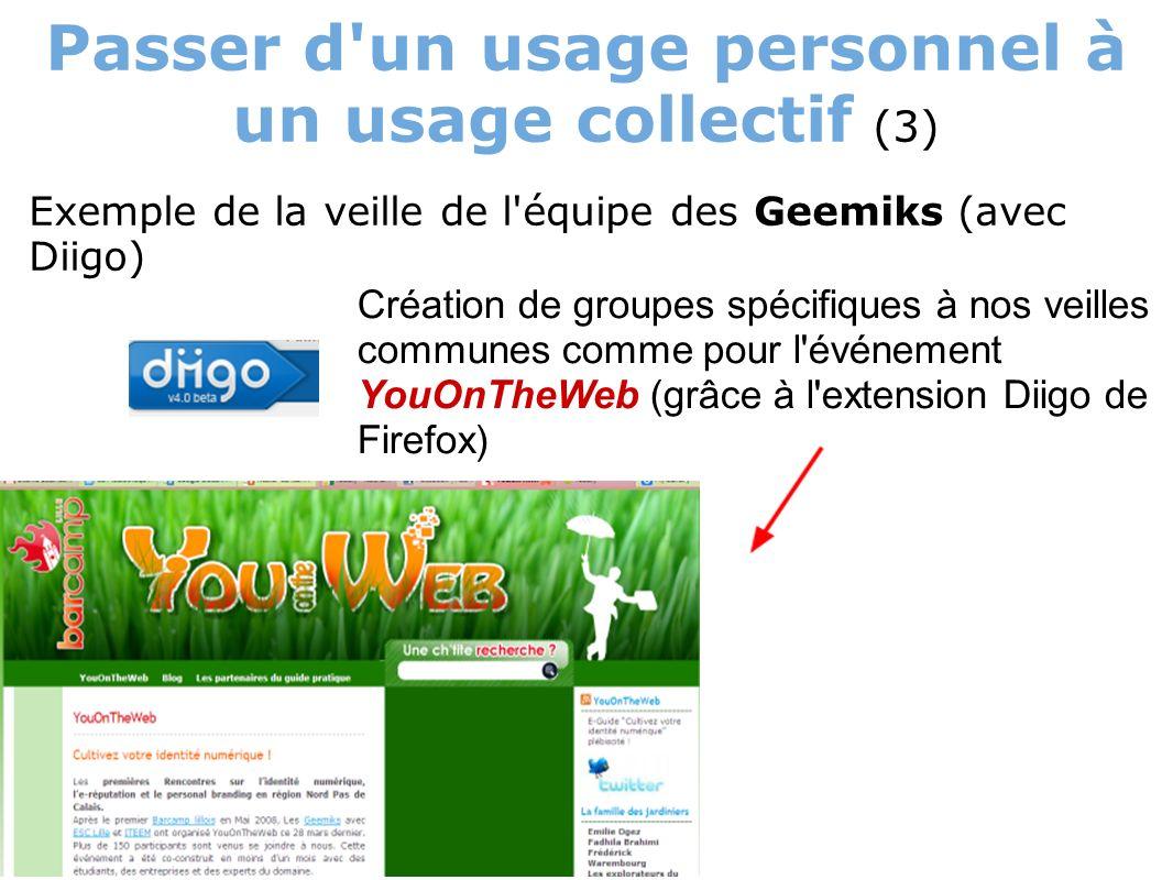 Passer d un usage personnel à un usage collectif (3) Exemple de la veille de l équipe des Geemiks (avec Diigo) Création de groupes spécifiques à nos veilles communes comme pour l événement YouOnTheWeb (grâce à l extension Diigo de Firefox)