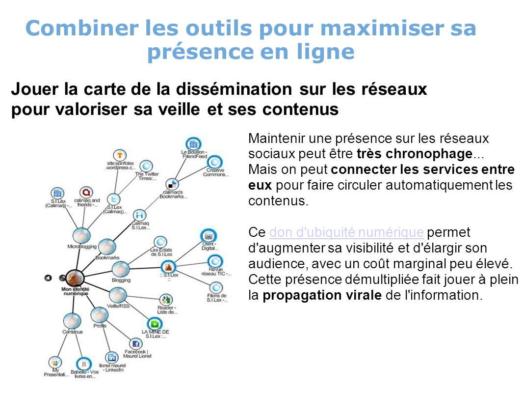 Combiner les outils pour maximiser sa présence en ligne Jouer la carte de la dissémination sur les réseaux pour valoriser sa veille et ses contenus Maintenir une présence sur les réseaux sociaux peut être très chronophage...