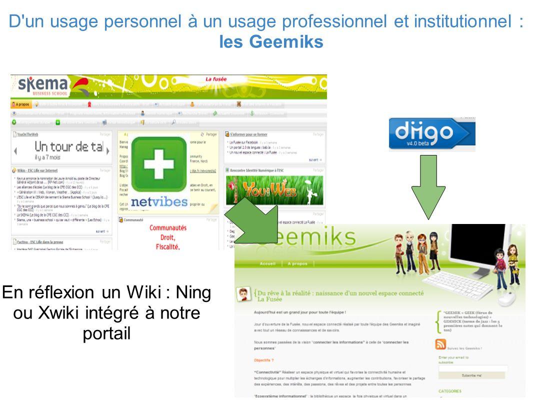 D un usage personnel à un usage professionnel et institutionnel : les Geemiks En réflexion un Wiki : Ning ou Xwiki intégré à notre portail