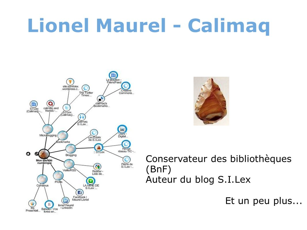 Lionel Maurel - Calimaq Conservateur des bibliothèques (BnF) Auteur du blog S.I.Lex Et un peu plus...