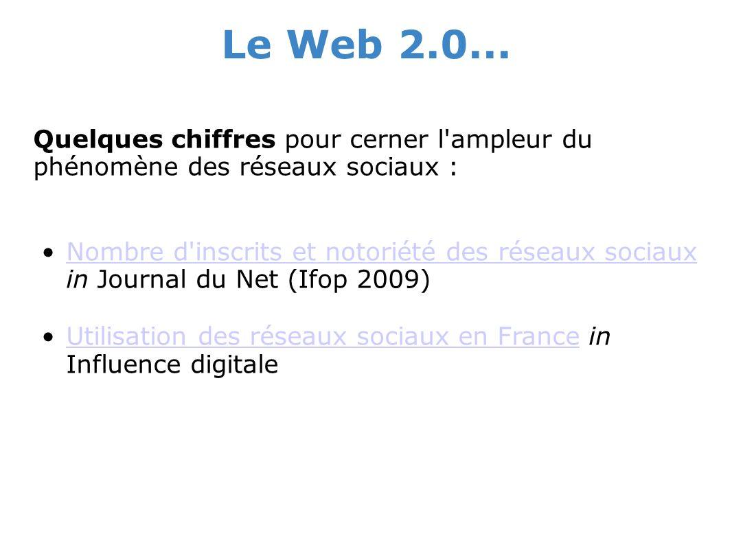 Le Web 2.0... Quelques chiffres pour cerner l'ampleur du phénomène des réseaux sociaux : Nombre d'inscrits et notoriété des réseaux sociaux in Journal