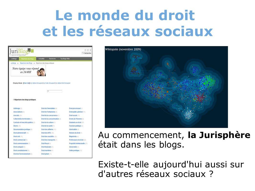 Le monde du droit et les réseaux sociaux Au commencement, la Jurisphère était dans les blogs. Existe-t-elle aujourd'hui aussi sur d'autres réseaux soc