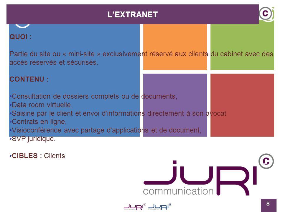 7 LEXTRANET 9 OBJECTIFS : Permettre au client d entrer au cœur même du cabinet, d avoir une information disponible à tout moment et de connaître l état d avancement de son dossier Permettre à l avocat et au client de travailler en temps réel ou en différé sur un dossier.