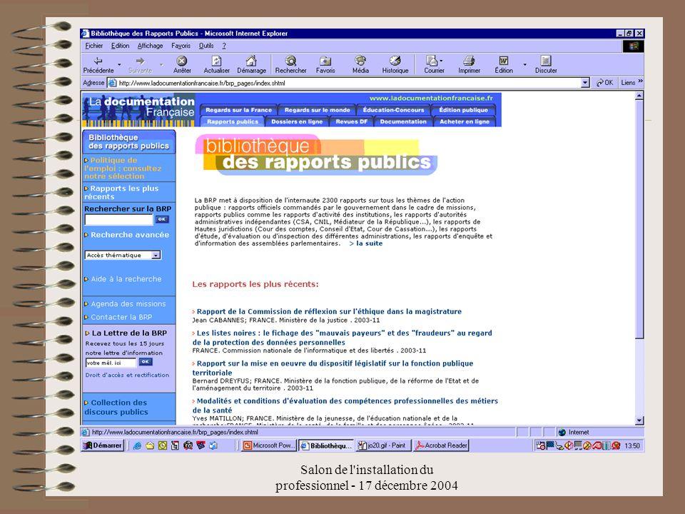 Salon de l'installation du professionnel - 17 décembre 2004