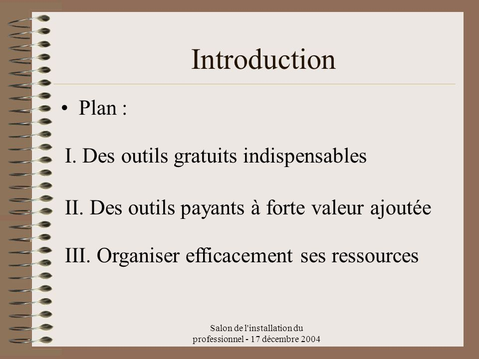 Salon de l installation du professionnel - 17 décembre 2004 Plan : Introduction I.