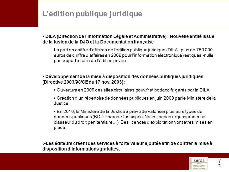 Page 19 11 DILA (Direction de lInformation Légale et Administrative) : Nouvelle entité issue de la fusion de la DJO et la Documentation française La part en chiffre daffaires de lédition publique juridique (DILA : plus de 750 000 euros de chiffre daffaires en 2009 pour linformation électronique) est quasi-nulle par rapport à celle de lédition privée.