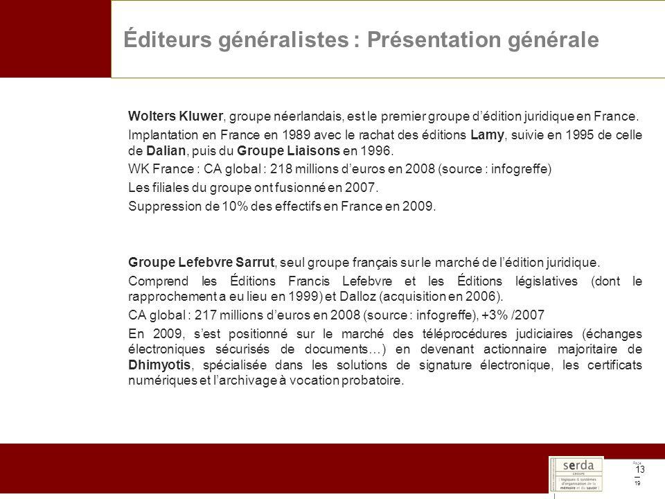 Page 19 13 Wolters Kluwer, groupe néerlandais, est le premier groupe dédition juridique en France. Implantation en France en 1989 avec le rachat des é