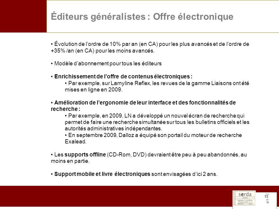 Page 19 15 Éditeurs généralistes : Offre électronique Évolution de lordre de 10% par an (en CA) pour les plus avancés et de lordre de +35% /an (en CA)
