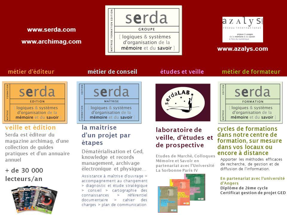 Page 26 22 métier déditeurmétier de conseilmétier de formateur veille et édition Serda est éditeur du magazine archimag, dune collection de guides pra