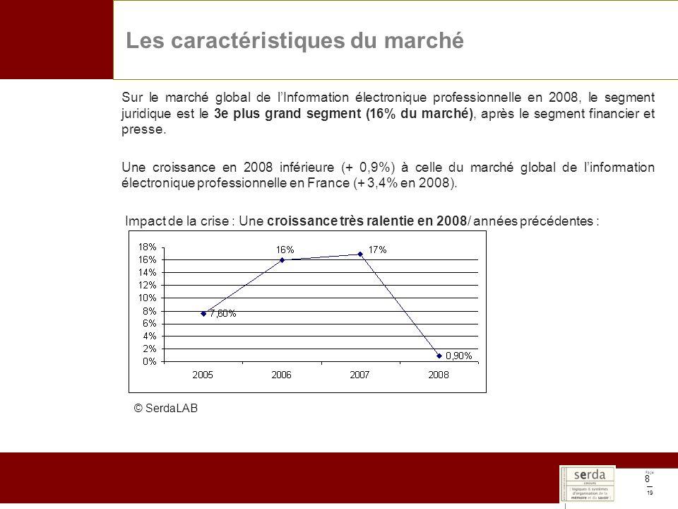 Page 19 8 Sur le marché global de lInformation électronique professionnelle en 2008, le segment juridique est le 3e plus grand segment (16% du marché), après le segment financier et presse.